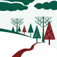 Winter landscape with trees in snowfall