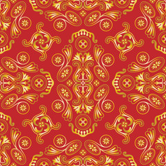 Seamless vector wallpaper with gold on red pattern