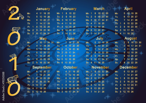 Horoscope Calendar.Chinese Horoscope Calendar 2010 Stock Image And Royalty Free