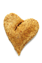 a heart bread on a white background