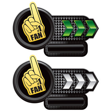 fan hand green and white arrow nameplate banners