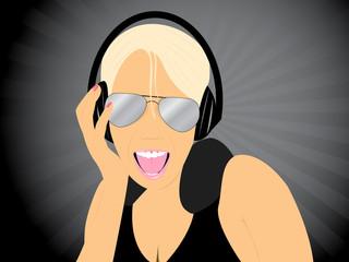 Blonde girl listening music
