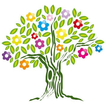 arbol con flores colores primavera
