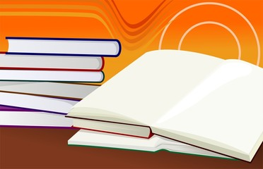 Illustration of books in colour background