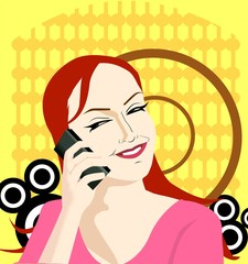 Illustration of Business women with mobile phone