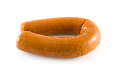 Fresh sausage over white background