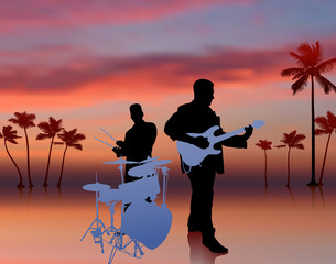 Music Band on Sky Background