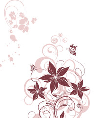 Floral design element with btterflies.
