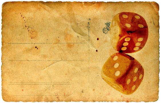 Dice vintage paper card
