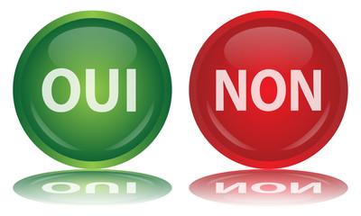 Boutons Web OUI & NON (Sondage Vote Opinion Pour Contre Vecteur)