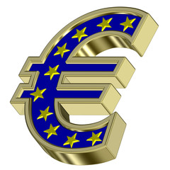 Gold Euro sign with yellow stars isolated on white.