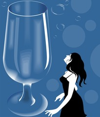 Illustration of lady standing near the wine glass