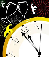 clock and wine glass with colourful background