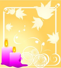 Illustration of candle light with floral background