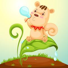 squirrel blowing bubble