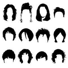 Big collection of black hair styling for woman
