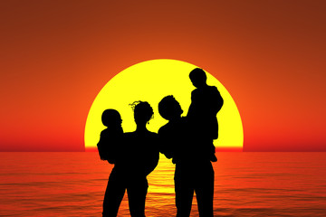 silhouette family with children stand on sunset beach collage