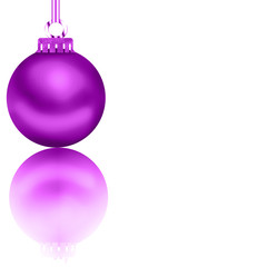 Beautiful glossy pink Christmas decoration with its reflection