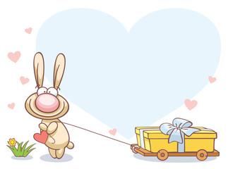 fun rabbit on Valentine's Day
