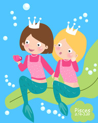 Zodiac- illustration of mermaids-pisces