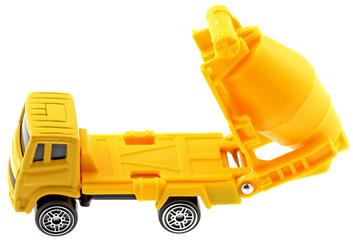 camion toupie jaune chantier fond blanc