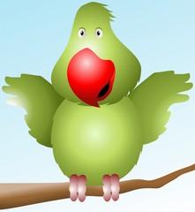 Illustration of a cartoon parrot
