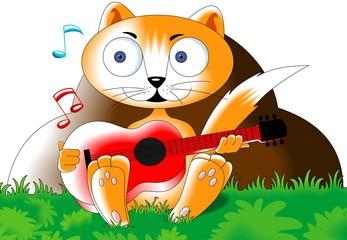 Illustration of a cartoon cat playing guitar