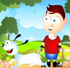 Illustration of a cartoon dog and boy