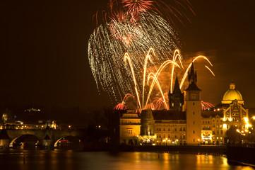 Foto op Aluminium Praag New Year's fireworks in Prague.