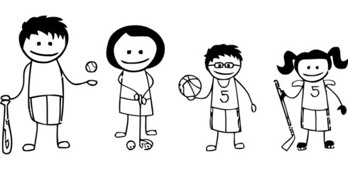 Stick sports family in black and white sketch