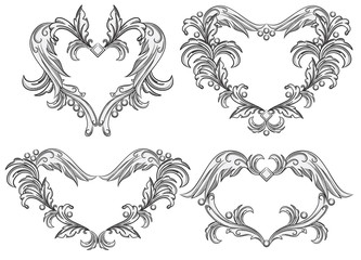 Vector set of scroll design elements.