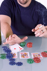 Man Going all in with Royal Flush