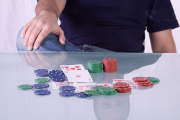 Man with Royal Flush on a Texas Hold'em Table