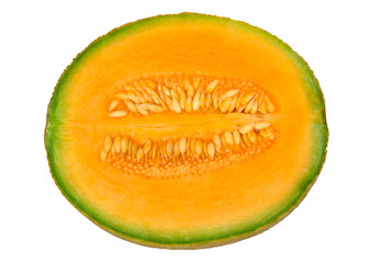 Cantaloup melon half with pulp and seeds