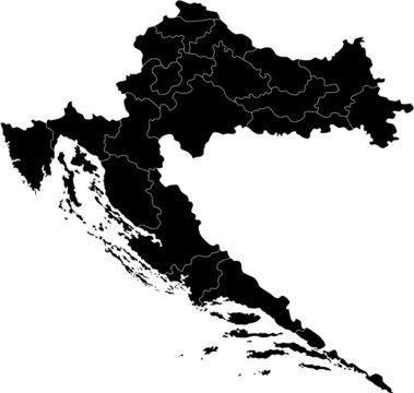 Black map of Croatia