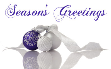 Christmas decoration lilac and silver balls with ribbon