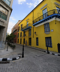 Old Havana street with colonial building, cuba