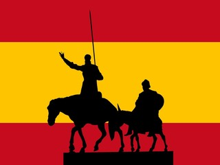 silhouette of Madrid on flag background