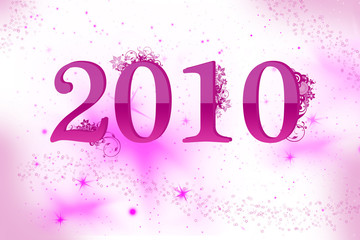 New year 2010 celebration with floral background