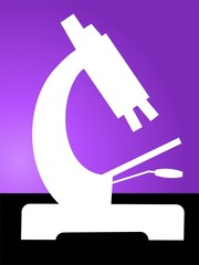 Illustration of a microscope in violet background
