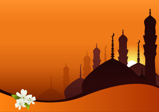 Skyline with minarets, domes of mosques and Jasmine flowers.