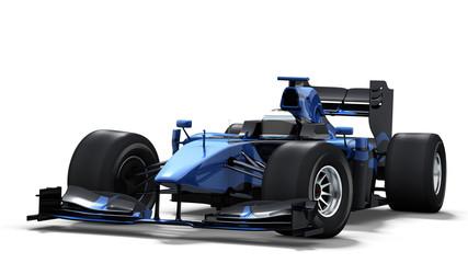 Acrylic Prints F1 race car on white - black & blue
