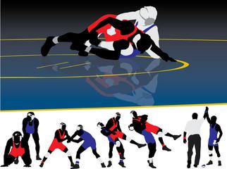 Wrestling Silhouette Vectors