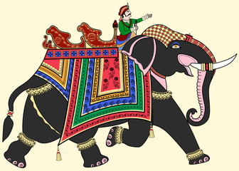 Printed roller blinds Art Studio Decorated Indian elephant