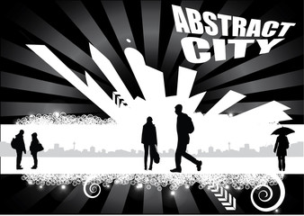 abstract city with people design