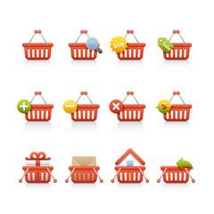 Icon Set - Shopping Basquet Red
