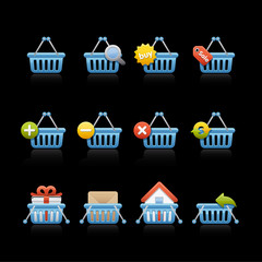Icon Set in Black - Shopping Basquet Blue