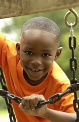 African American boy on playground