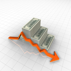 US dollars and finance chart