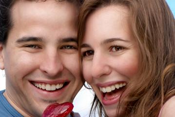 Portrait happy young couple